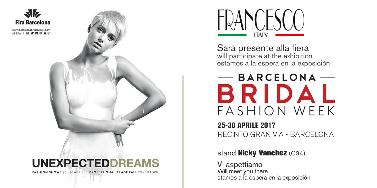 Barcelona Bridal Fashion Week 2017 – From April 25 to 30